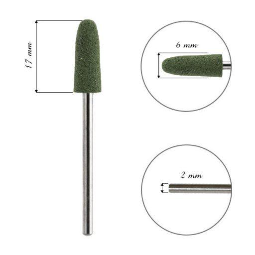 FRESA para cutícula, de silicona, bala verde.