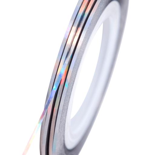 Cinta para uñas plata holográfico