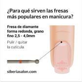 Fresa / Broca de diamante, forma redonda, grano fino. 2,9mm