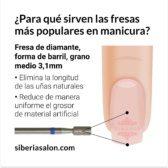 Fresa / Broca de diamante, forma de barril 3,1mm, grano medio