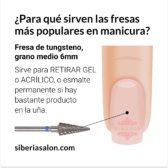 Fresa / Broca para retirar Gel y Acrílico, lanza 6mm