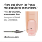 Fresa / Broca para retirar Gel y Acrílico, lanza 6mm gruesa